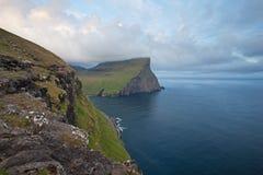 Faroe Island Danmark, sikt på Atlanticet Ocean Arkivfoto