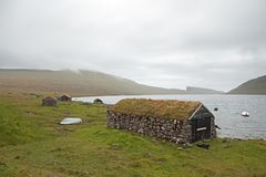 Faroe Island Danmark, VÃ-¡ gar Arkivfoto