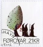 FAROE ISLAND - 2012: las demostraciones Egg a la procesión para enero, por Edward Fuglo llevado 1965, serie del arte contemporáne Foto de archivo libre de regalías