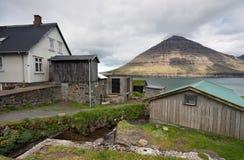 Faroe Island, vila abandonada de Muli Fotos de Stock Royalty Free