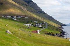Faroe Island, vila de Vidoy Imagens de Stock Royalty Free