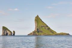 Faroe islands coastline cliffs landscape in Vagar island