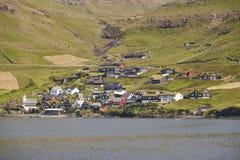 Faroe islands coastline village of Bour. Vagar island landscape