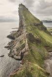 Faroe islands dramatic coastline viewed from helicopter. Vagar cliffs