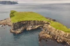 Faroe islands dramatic coastline viewed from helicopter. Vagar flight