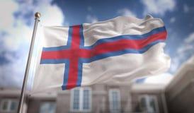 Faroe Islands Flag 3D Rendering on Blue Sky Building Background Stock Images