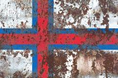 Faroe Islands grunge flag, Denmark dependent territory flag.  Stock Images