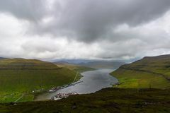 Faroe Islands incredible mountain scenery in summer.  stock image