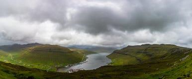Faroe Islands incredible mountain scenery in summer. Panorama.  royalty free stock image