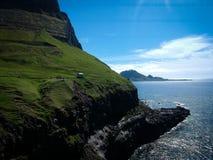 Faroe islands landscape Gasadalur in sunny day