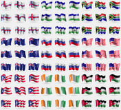 Faroe Islands, Lesothe, South Africa, New Zeland, Russia, Bikini Atoll, Puerto Rico, Cote d'ivoire, Jordan. Big set of 81 flags. Stock Photo