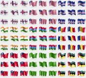 Faroe Islands, Liberia, Cape Verde, India, Karelia, Romania, Taiwan, Ladonia, Mozambique. Big set of 81 flags. Royalty Free Stock Photography