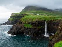 Faroe Islands. Múlafossur Waterfall.