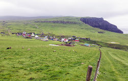 Faroe islands and Mykines village. Royalty Free Stock Photography