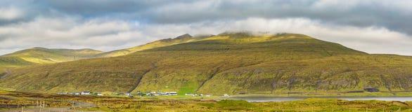 Faroe Islands Panoramic View, Vatnsoyrar Village In Faroe Islands