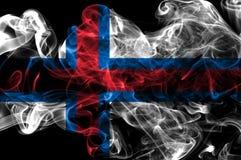 Faroe Islands smoke flag, Denmark dependent territory flag.  Royalty Free Stock Photos
