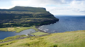 Faroe Islands, soccer field at the sea. Soccer field at the sea near Eidi on Eysturoy Island on the road to Gjogv in the Faroe royalty free stock photo