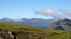 Faroe Islands, view of the fjord. View of the fjord on Eysturoy Island on the road to Gjogv in the Faroe stock image