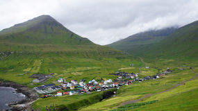 Faroe, view from the mountain on Gjogv Royalty Free Stock Photography