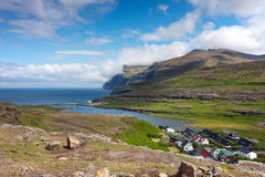 Faroe Islands, village surrounded by nature Royalty Free Stock Photography