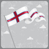 Faroe Islands wavy flag. Vector illustration. Royalty Free Stock Photos
