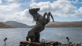 Faroe pony Nix Nykur Statue near the airport in Vagar on the Faroe Islands, Denmark