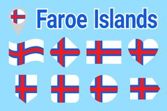 Faroe wysp wektoru flaga set, Faroese flaga państowowa inkasowe Mieszkanie odosobnione ikony Kraju imię w tradycyjnych kolorach i royalty ilustracja
