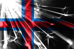 Faroe wyspy błyszczy fajerwerki błyska flagę Nowy Rok 2019 i Bożenarodzeniowa futurystyczna błyszcząca partyjna pojęcie flaga royalty ilustracja