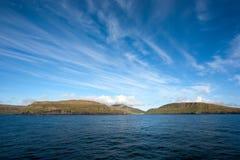 Faroe wyspy od morza Zdjęcia Royalty Free