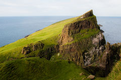 Faroese Landscape. Bird cliffs with seagulls - puffins - gannets and terns - Mykines - Faroe Islands Royalty Free Stock Image