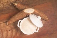 Farofa. Cassava Flour. Over a wooden table Stock Photography