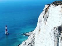 Farol azul do mar imagem de stock royalty free