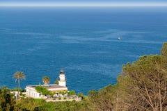 Farol branco velho no monte verde com as palmas acima do mar Foto de Stock