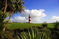 Farol com palmeira, Plymouth, Reino Unido Fotos de Stock Royalty Free