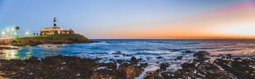 Farol da barra in Bahia, Salvador - Brazil at the sunset royalty free stock image