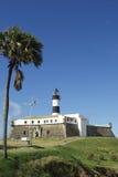 Farol da Barra Lighthouse Salvador Brazil with Palm Tree Royalty Free Stock Photos