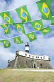 Farol DA Barra Salvador Brazil Lighthouse Brazilian Flags Stockfoto