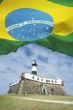 Farol da Barra Salvador Brazil Lighthouse Brazilian Flags Stock Photo