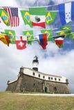 Farol da Barra Salvador Brazil Lighthouse International Flags Royalty Free Stock Images
