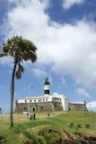 Farol da Barra Salvador Brazil lighthouse with palm tree Royalty Free Stock Photos