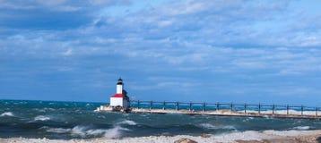 Farol da cidade de Michigan fotografia de stock