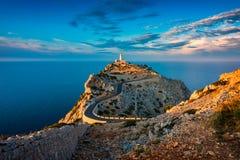 Farol da Espanha de Tampão de Formentor Mallorca em torno do por do sol fotografia de stock royalty free