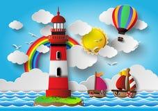 Farol da ilustração do vetor com seascape Imagens de Stock Royalty Free