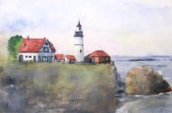 Farol da paisagem da aquarela no por do sol ilustração do vetor