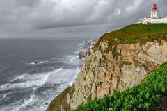 Farol de Cabo a Dinamarca Roca, a extremidade de Europa fotografia de stock royalty free