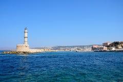 Farol de Chania e porto, Creta Fotos de Stock