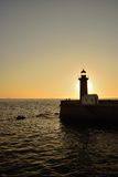 Farol de Felgueiras. Built in 1886, this small lighthouse is located in the Douro River mouth, on the right border of the river, and over the Atlantic Ocean Stock Photo