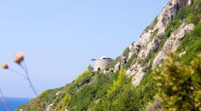 Farol de Milos Beach, Lefkada, Grécia fotos de stock