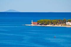 Farol de Puntamika da opinião aérea de Zadar Imagem de Stock