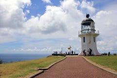 Farol de Reinga do cabo na borda do Northland, Nova Zelândia Fotos de Stock Royalty Free